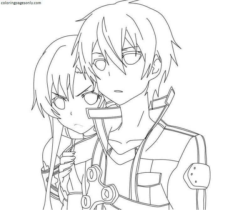 Kirito and Asuna met enemies Coloring Page