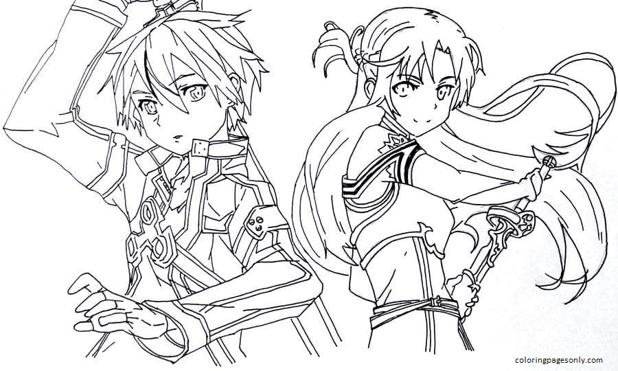 Kirito and Asuna SAO Coloring Page
