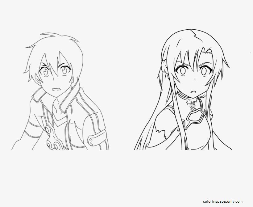 Kirito and Asuna-Sword Art Online Coloring Page