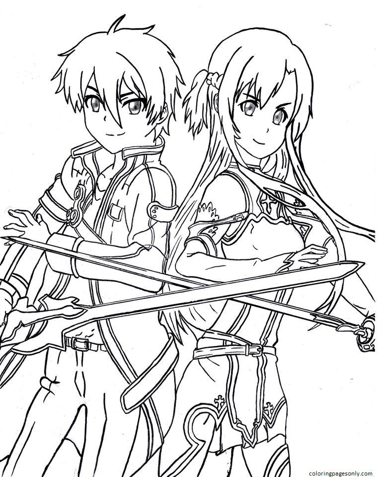Kirito and Asuna Coloring Page