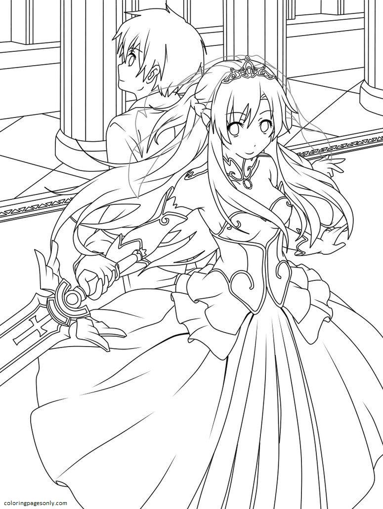 Kirito, Asuna from Sword Art Online Coloring Page