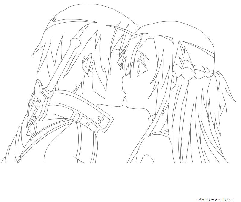 Kiss Asuna and Kirito Coloring Page