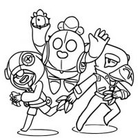 Spike, Leon and Crow in Legendary Brawlers Team from Brawl Stars Coloring Page