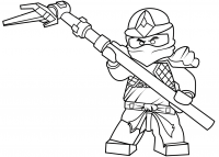 Cole ZX in Lego Ninjago defend with Golden Tri Scythe Coloring Page