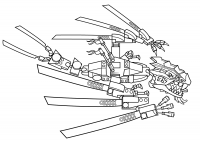 Lego Ninjago the Blue Dragon with wings on each side Coloring Page