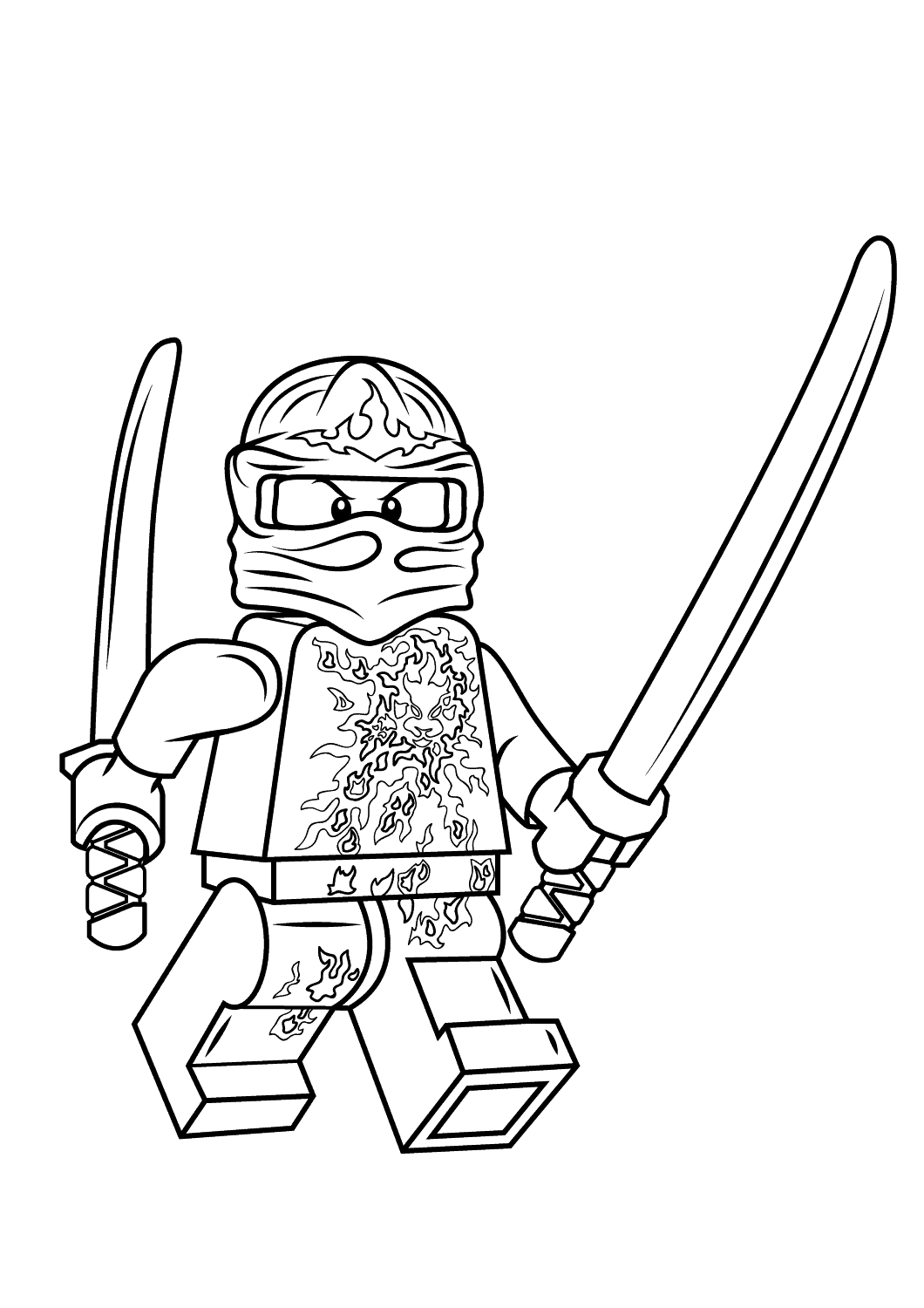 Kai from Ninjago holds Golden swords on his hands Coloring Pages