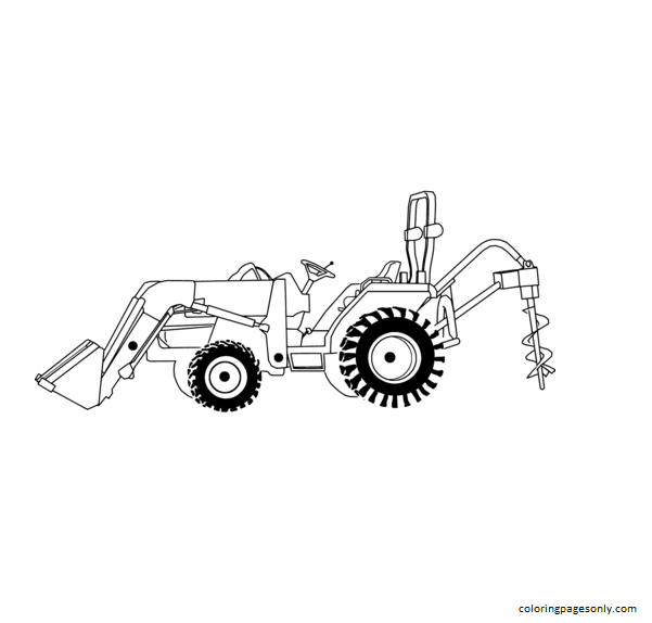Loading Tractor Excavator Coloring Page