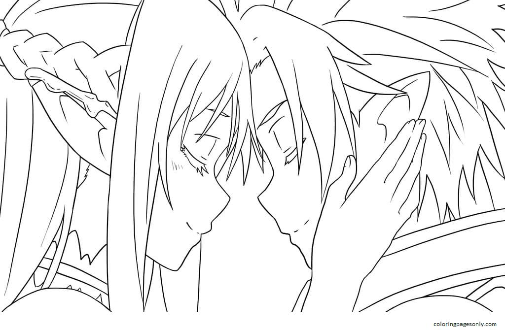 Love Asuna And Kirito Coloring Page