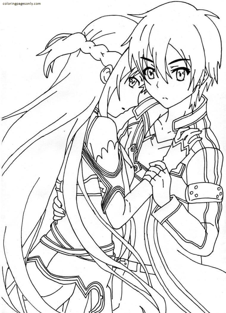 Love Kirito and Asuna Coloring Page