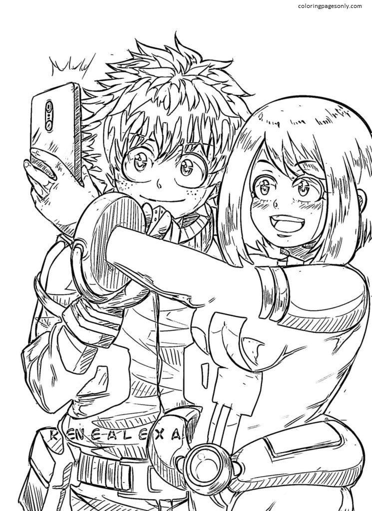 Love Ochako Uraraka and Izuku Midoriya Coloring Page
