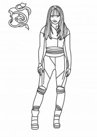 Mal, a natural-born leader and skilled at art in Descendants Coloring Page