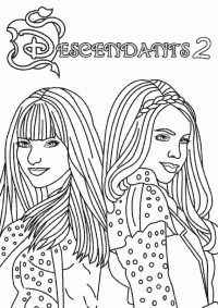 Mal and Evie from Descendants 2 Coloring Page