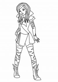 Mal in Descendants wants to be like her pure evil mother Coloring Page