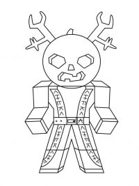 Samurai with a pumpkin head and wrenches from Roblox Coloring Page