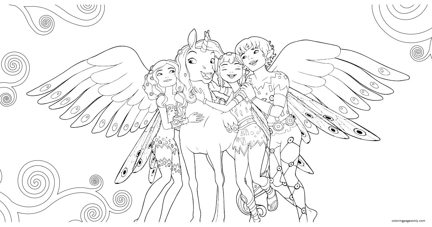 Mia, Mo, Yuko, Onchao Coloring Page