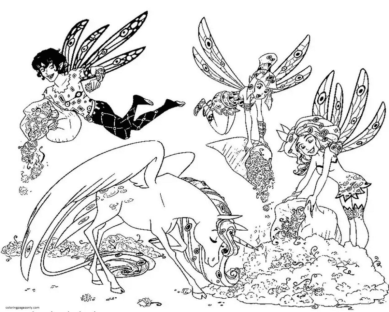 Mia, Mo, Yuko, Unicorn Coloring Page
