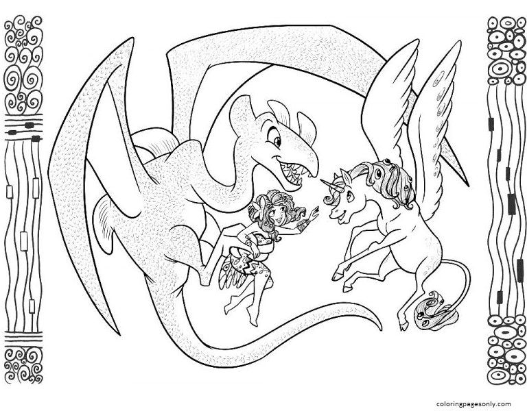 Mia, Onchao, Dragon Coloring Page