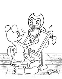 Mickey Mouse teaches Bendy how to draw from Bendy and the Ink Machine Coloring Page