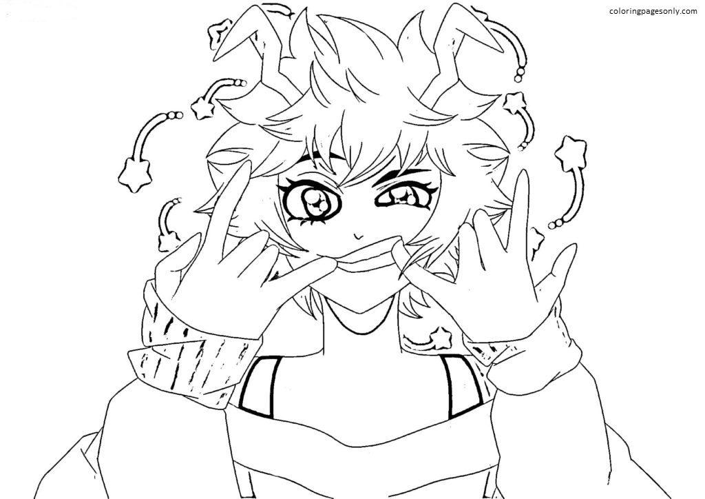 Mina Ashido In MHA Coloring Page
