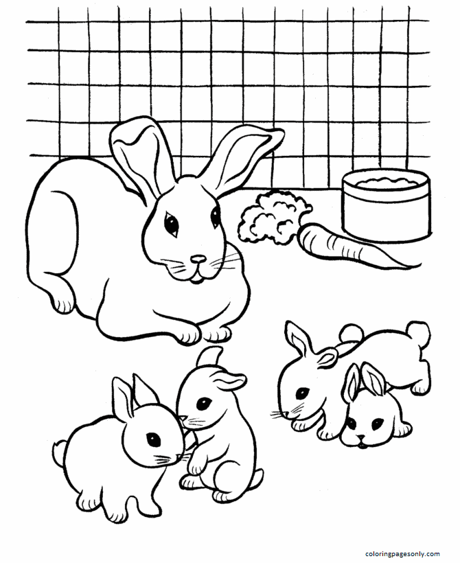 Mother Bunny and Baby Bunny Coloring Page