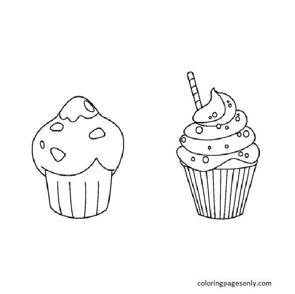 Muffin and Cupcake Coloring Page