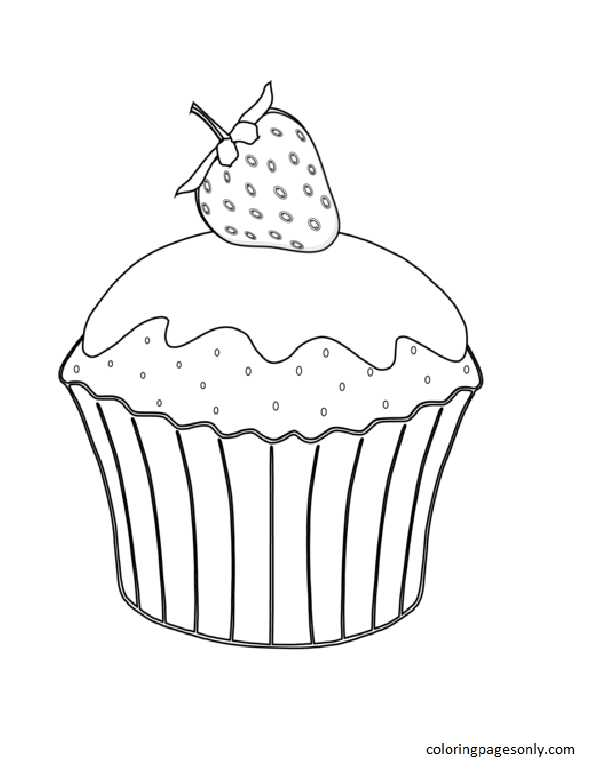 Muffin with Strawberry Coloring Page