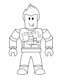 Naughty boy wears I love cat t-shirt from Roblox Coloring Page