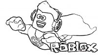 Roblox flying Superman with headphone Coloring Page