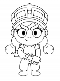 Little girl Jessie holds Spark Plug from Brawl Stars Coloring Page