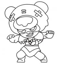 Nita summons a massive bear to fight by her side in Brawl Stars Coloring Page