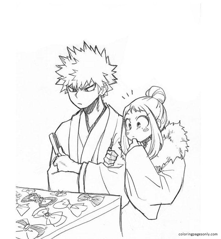 Ochako Uraraka and Katsuki Bakugou Coloring Page