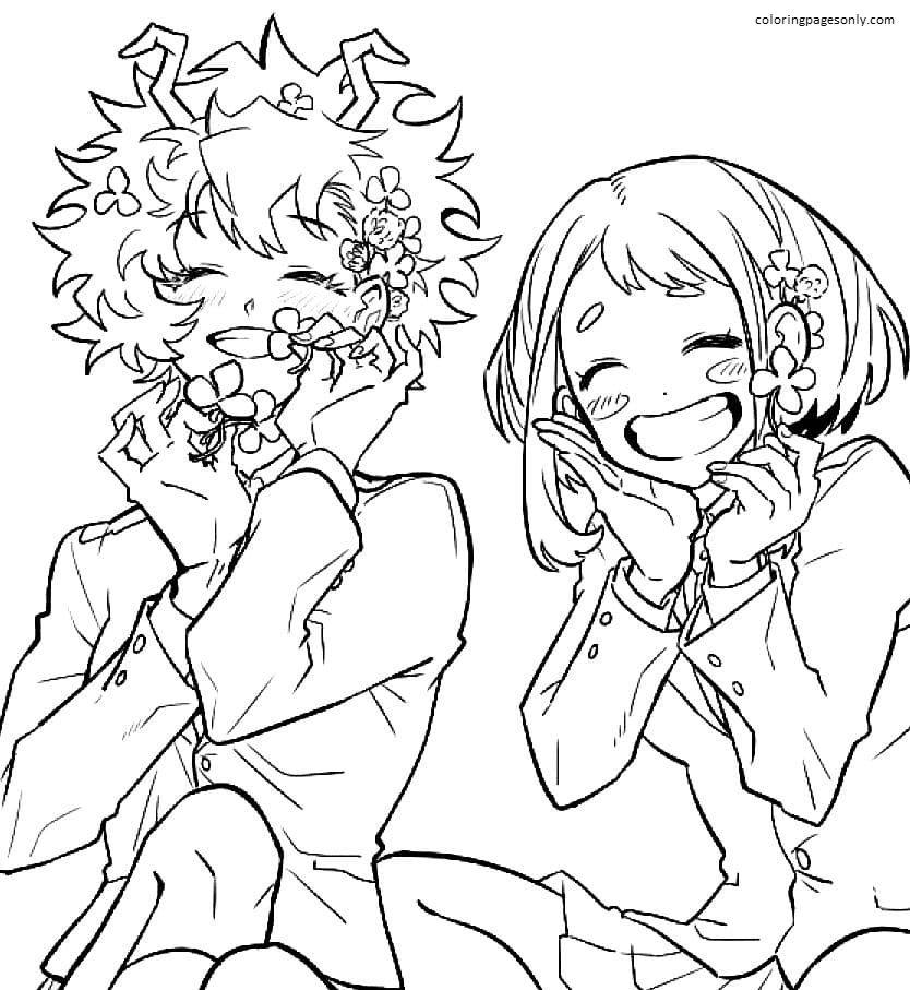 Ochako Uraraka and Mina Ashido with flowers Coloring Page