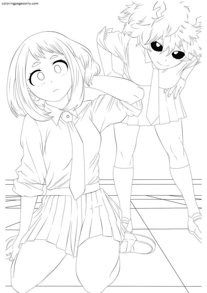 Ochako Uraraka and Mina Ashido Coloring Page