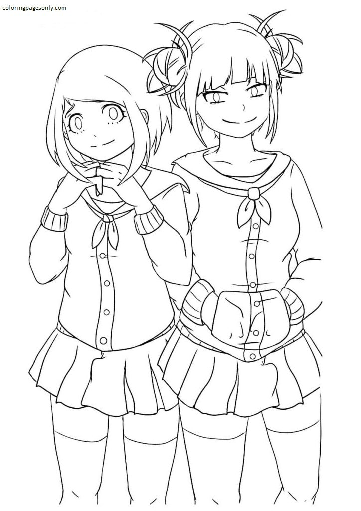 Ochako Uraraka and Toga Himiko Coloring Page