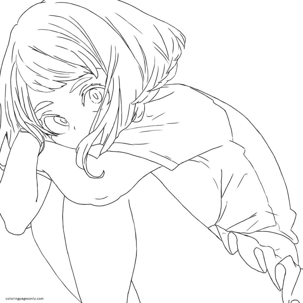 Ochako Uraraka is sad Coloring Page