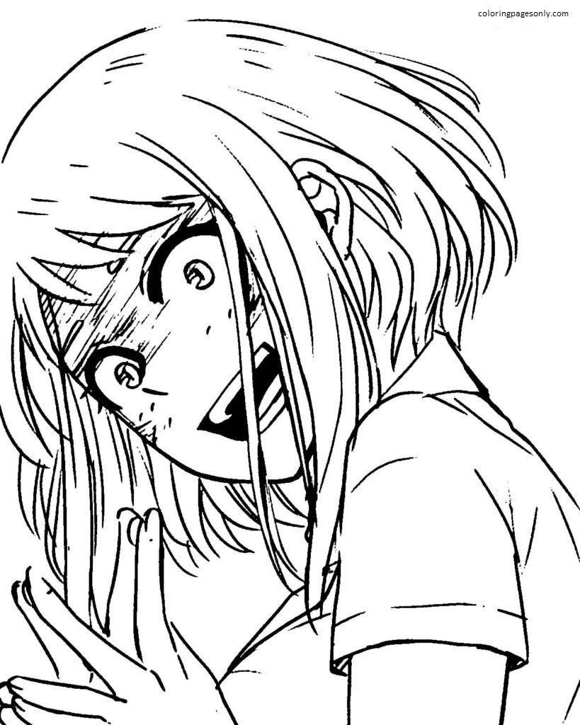 Ochako Uraraka laughs Coloring Page