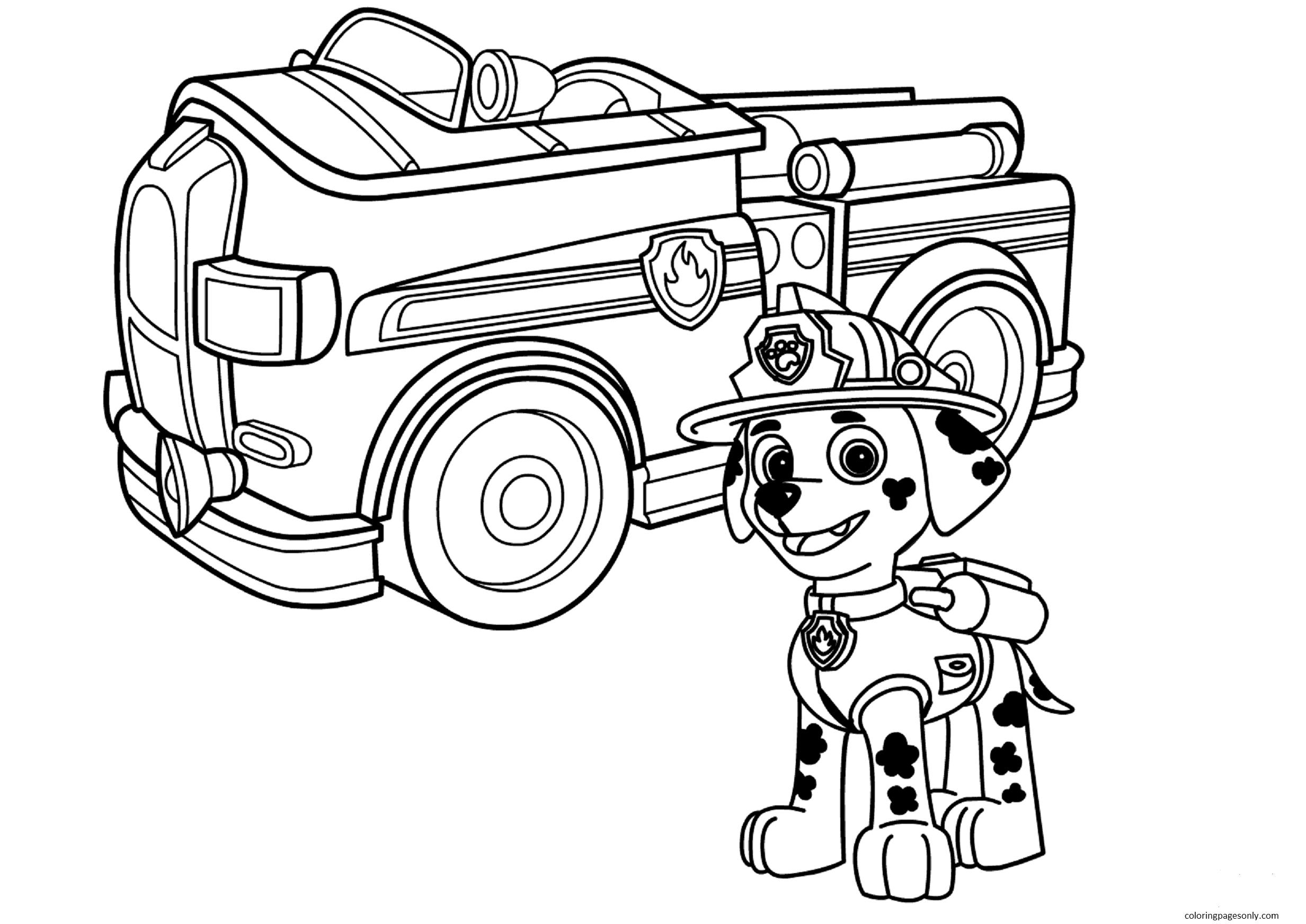 Paw Patrol Marshall With Fire Truck Coloring Page