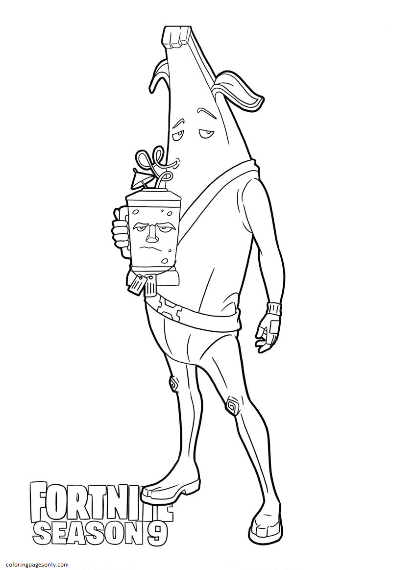 Peely Skin Free Printable Coloring Page