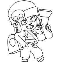 Penny from Brawl Stars brings a bag of coins Coloring Page