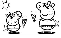 Peppa Pig with Ice Cream Coloring Page