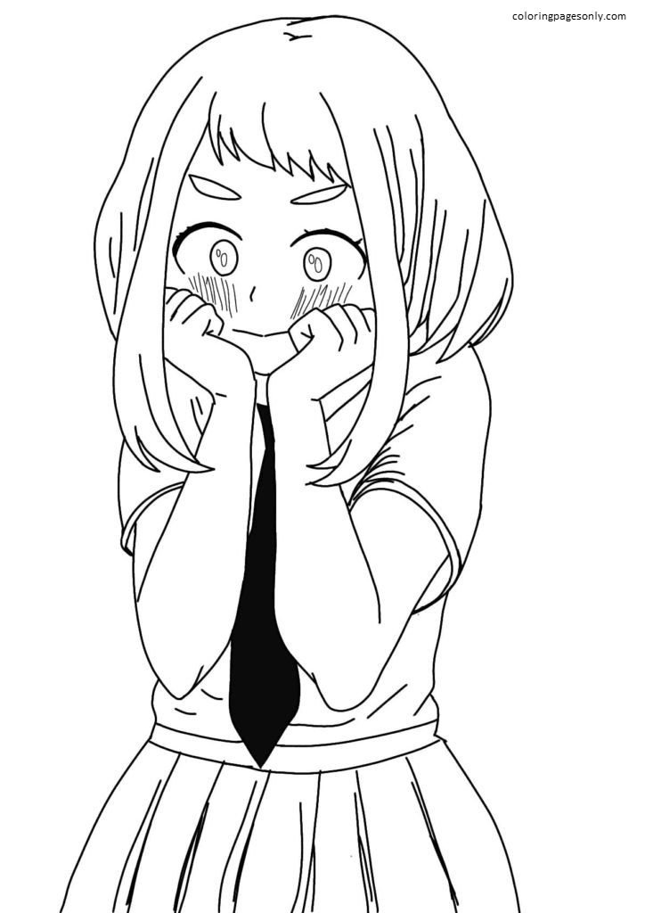 Picture for sketching Ochako Uraraka Coloring Page