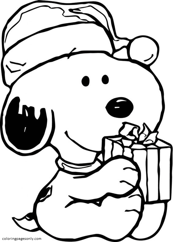 Picture Snoopy Christmas Coloring Page