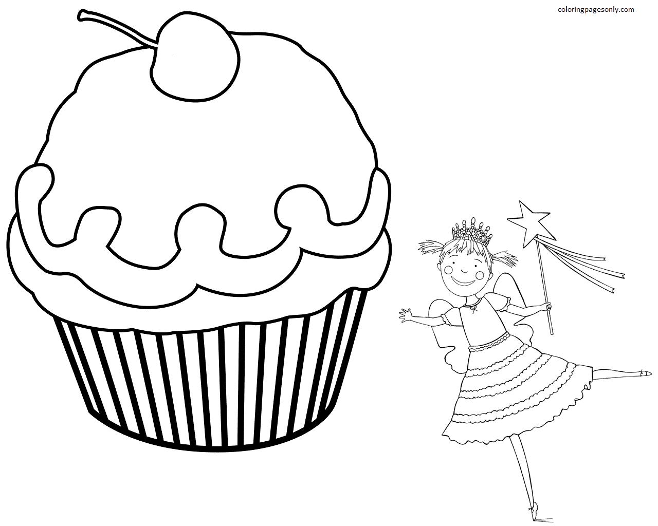 Pinkalicious and Birthday Cupcake Coloring Page