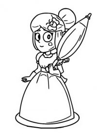 Princess Piper from Brawl Stars holds an umbrella Coloring Page