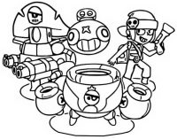 Penny, Darryl and Tick join in Pirate team from Brawl Stars Coloring Page