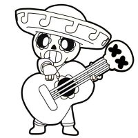 Poco plays the guitar from Brawl Stars Coloring Page