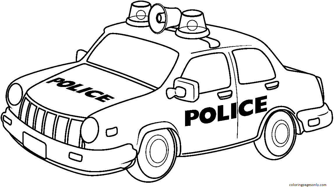 Police Car 1 Coloring Page