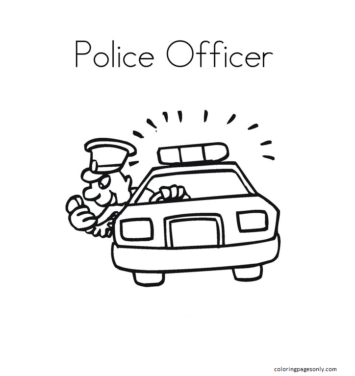 Police Car 2 Coloring Page