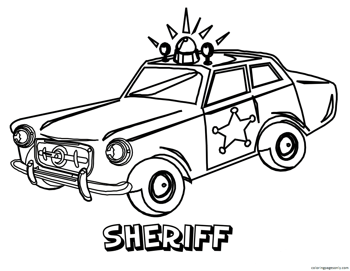 Police Car Fire Truck Coloring Page