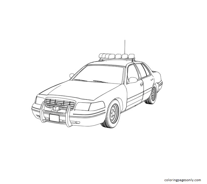 Police Car Coloring Page